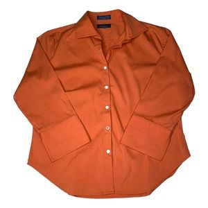 Faconnable Orange Button Down Top EUC
